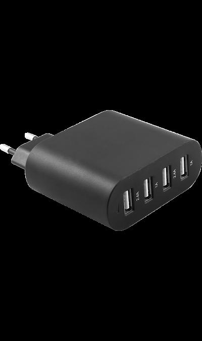 Зарядное устройство сетевое Bron 6.8А (4 USB разъема)Зарядные устройства<br>Сетевое зарядное устройство Bron можно использовать для зарядки аккумуляторов аппаратов. USB кабель в комплект не входит.<br><br>Colour: Черный