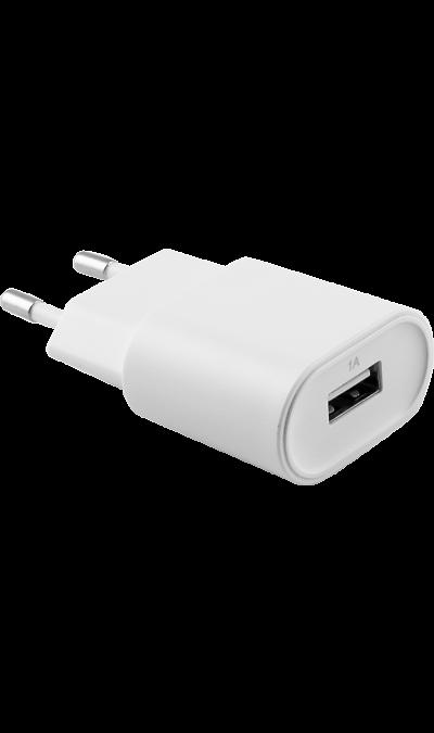 Зарядное устройство сетевое Bron 1А (белое)Зарядные устройства<br>Сетевое зарядное устройство Bron можно использовать для зарядки аккумуляторов аппаратов. USB кабель в комплект не входит.<br><br>Colour: Белый