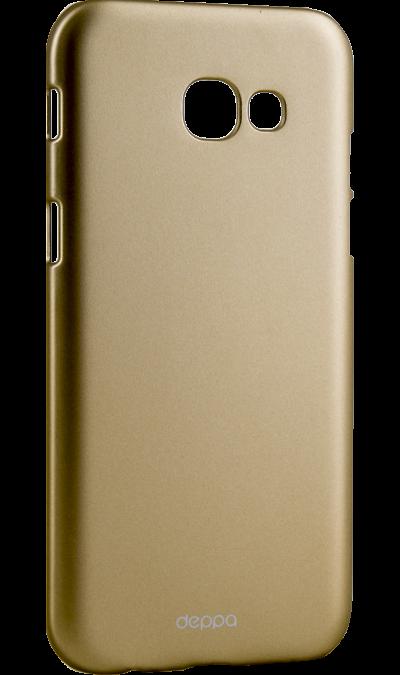 Чехол-крышка Deppa Air Case для Samsung Galaxy A5 (2017), пластик, золотистыйЧехлы и сумочки<br>Чехол Deppa поможет не только защитить ваш Samsung Galaxy A5 (2017) от повреждений, но и сделает обращение с ним более удобным, а сам аппарат будет выглядеть еще более элегантным.<br><br>Colour: Золотистый
