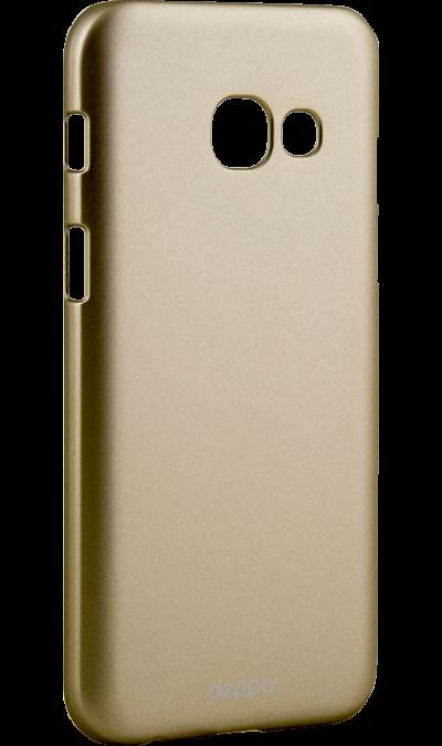Чехол-крышка Deppa Air Case для Samsung Galaxy A3 (2017), пластик, золотистыйЧехлы и сумочки<br>Чехол Deppa поможет не только защитить ваш Samsung Galaxy A3 (2017) от повреждений, но и сделает обращение с ним более удобным, а сам аппарат будет выглядеть еще более элегантным.<br><br>Colour: Золотистый