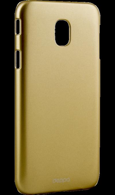 Чехол-крышка Deppa Air Case для Samsung Galaxy J3 (2017), силикон, золотистыйЧехлы и сумочки<br>Чехол Samsung поможет не только защитить ваш Samsung Galaxy J3 (2017) от повреждений, но и сделает обращение с ним более удобным, а сам аппарат будет выглядеть еще более элегантным.<br><br>Colour: Золотистый