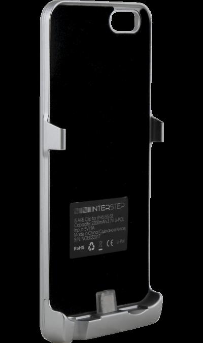 Чехол-аккумулятор Inter-Step 2200mAh для Apple iPhone 5/SE, пластик, серебристыйЧехлы и сумочки<br>Чехол Inter-Step разработан специально для увеличения заряда аккумулятора и защиты Apple iPhone 5/SE. Мягкая подкладка из микроволокна защищает корпус iPhone, а его внешняя силиконовая поверхность очень приятна на ощупь. Чехол сделан из мягкого эластомерного материала, поэтому его легко надевать и снимать.<br>Одновременно заряжая iPhone и чехол с аккумулятором, вы получите возможность говорить по телефону до 26 часов, работать в интернете через LTE до 22 часов и ещё дольше слушать музыку и ...<br><br>Colour: Серебристый