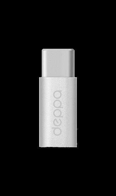 Адаптер Deppa microUSB/Type-C (серебристый)Кабели и адаптеры<br>Адаптер предназначен для преобразования интерфейса USB тип С в интерфейс micro USB.<br><br>Colour: Белый