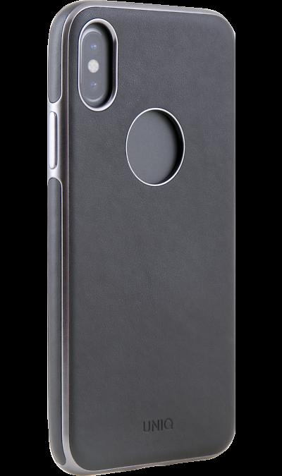 Uniq Чехол-крышка Uniq Glacer Luxe Heritage для Apple iPhone X, кожзам, черный uniq чехол крышка uniq feltro для apple iphone x пластик микрофибра синий