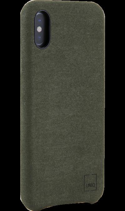 Чехол-крышка Uniq Feltro для Apple iPhone X, пластик/микрофибра, зеленыйЧехлы и сумочки<br>Чехол Uniq поможет не только защитить ваш iPhone X от повреждений, но и сделает обращение с ним более удобным, а сам аппарат будет выглядеть еще более элегантным.<br><br>Colour: Зеленый
