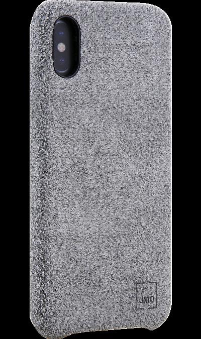 Uniq Чехол-крышка Uniq Feltro для Apple iPhone X, пластик/микрофибра, серый uniq чехол крышка uniq feltro для apple iphone x пластик микрофибра синий