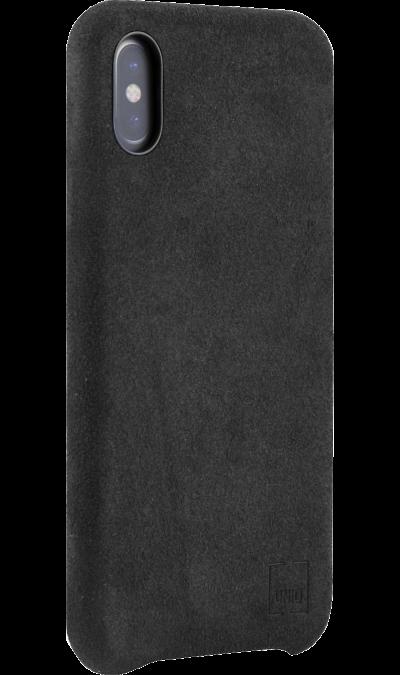 Uniq Чехол-крышка Uniq Feltro для Apple iPhone X, пластик/микрофибра, черный uniq чехол крышка uniq feltro для apple iphone x пластик микрофибра синий