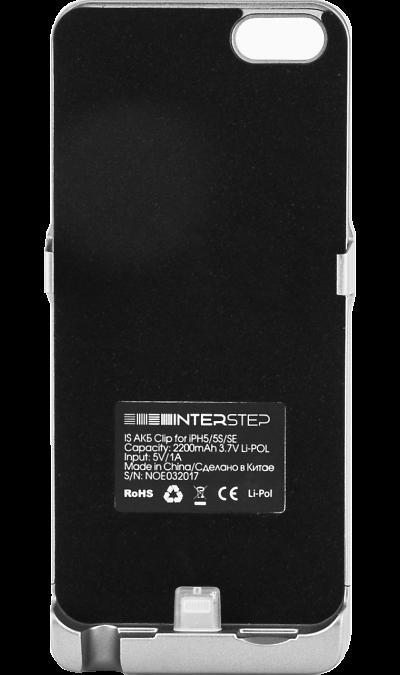 Чехол-аккумулятор Inter-Step 2200mAh для Apple iPhone 5/SE, пластик, тёмно-серыйЧехлы и сумочки<br>Чехол Inter-Step разработан специально для увеличения заряда аккумулятора и защиты Apple iPhone 5/SE. Мягкая подкладка из микроволокна защищает корпус iPhone, а его внешняя силиконовая поверхность очень приятна на ощупь. Чехол сделан из мягкого эластомерного материала, поэтому его легко надевать и снимать.<br>Одновременно заряжая iPhone и чехол с аккумулятором, вы получите возможность говорить по телефону до 26 часов, работать в интернете через LTE до 22 часов и ещё дольше слушать музыку и ...<br><br>Colour: Серебристый