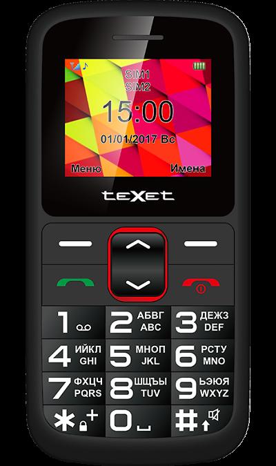 TeXet TM-B217Телефоны<br>2G; Дисплей 65,5 тыс цв. 1.77; Камера 0.3 Mpix; Разъем для карт памяти; FM; Вес 84 г.<br><br>Colour: Черный