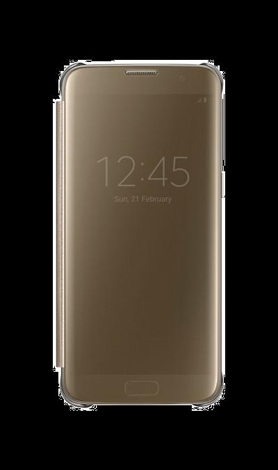 Чехол-книжка Samsung Clear View для Galaxy S7 Edge, полиуретан, золотистыйЧехлы и сумочки<br>Элегантный дизайн.<br>Плавные линии чехла настолько гармонично дополняют дизайн телефона, что практически полностью сохраняют первоначальный вид устройства, эффективно защищая его от повреждений.<br><br>Быстрый доступ к функциям.<br>Получите доступ ко всем основным функциям телефона, включая приём входящих вызовов и управление воспроизведением музыки, без необходимости открывать крышку чехла.<br><br>Устойчивость к отпечаткам.<br>Благодаря специальному покрытию, ...<br><br>Colour: Золотистый