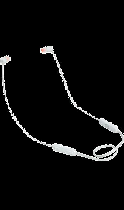 JBL T110BTНаушники и гарнитуры<br>Поддержка Bluetooth.<br>Поддержка технологии Bluetooth позволяет передавать потоковую музыку в высоком качестве с мобильных устройств. Источником звука может быть мобильный телефон, планшетное устройство или ноутбук - эта модель сможет с ним работать.<br><br>Кнопки управления звонками и музыкой.<br>Управляйте воспроизведением музыки и отвечайте на звонки с помощью кнопок и микрофона, удобно расположенных на проводе.<br><br>Colour: Белый
