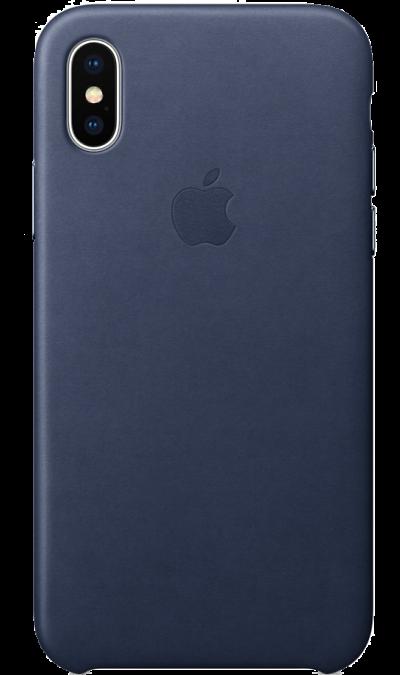 Чехол-крышка Apple для iPhone X, кожа, синийЧехлы и сумочки<br>Чехлы от Apple точно повторяют контуры iPhone, не делая его громоздким. Они изготовлены из специально обработанной кожи европейского производства, которая со временем покрывается благородной патиной. Внутренняя поверхность чехла, выполненная из микрофибры, защищает корпус вашего iPhone. А цвет кнопок из обработанного алюминия идеально к нему подходит. Чехол не придётся снимать даже во время беспроводной зарядки.<br><br>Colour: Синий