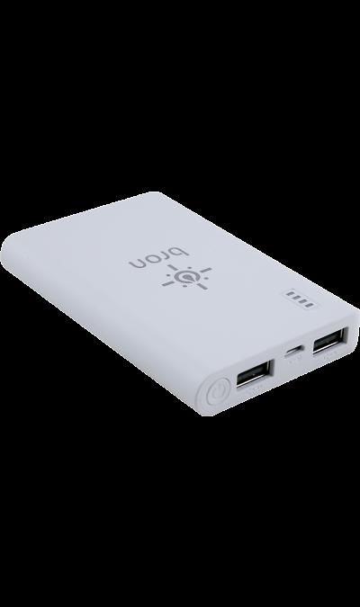 Аккумулятор Bron G600, Li-Ion, 6000 мАч, белый (портативный)Аккумуляторы внешние<br>Резервный аккумулятор Bron- устройство, предназначенное для зарядки портативных устройств без помощи электрической сети. Особенно актуален для путешественников и туристов в местах, где невозможен или ограничен доступ к электроэнергии. Резервный аккумулятор подходит для портативных устройств, таких как смартфоны, планшеты, мобильные телефоны и МР3-плееры.<br><br>Colour: Белый