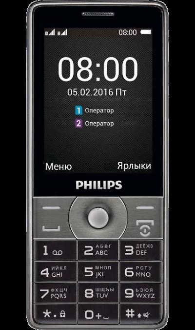 Philips Xenium E570Телефоны<br>2G; Дисплей 65,5 тыс цв. 2.8; Камера 2 Mpix; MP3, FM; Время работы 4080 ч. / 58.0 ч.; Вес 156 г.<br><br>Colour: Серый