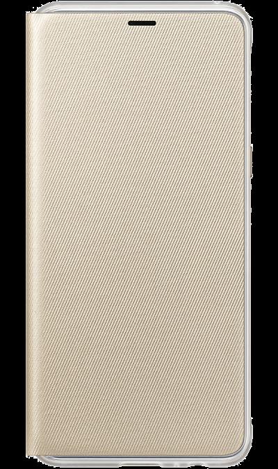 Чехол-книжка Samsung для Galaxy A8, поликарбонат, золотистыйЧехлы и сумочки<br>Оригинальный чехол обеспечит надежную защиту задней крышке и торцам устройства. Не сильно увеличивает размеры смартфона. Оснащен необходимыми отверстиями под порты и камеру.<br><br>Colour: Золотистый