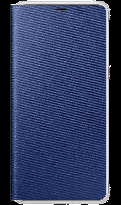 Чехол-книжка Samsung для Galaxy A8+, поликарбонат, синийЧехлы и сумочки<br>Оригинальный чехол обеспечит надежную защиту задней крышке и торцам устройства. Не сильно увеличивает размеры смартфона. Оснащен необходимыми отверстиями под порты и камеру.<br><br>Colour: Синий