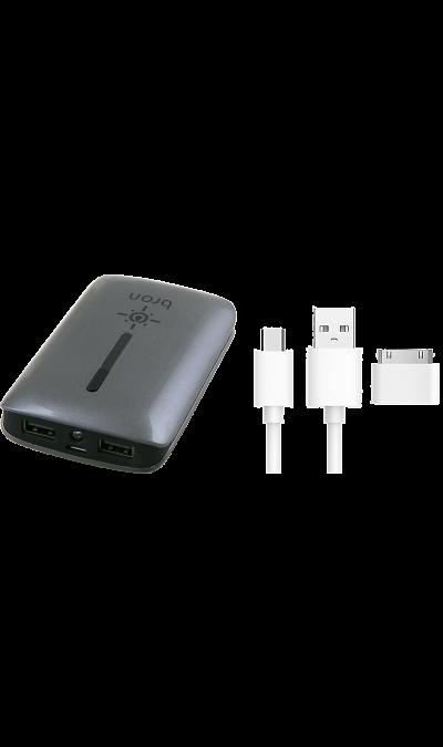 Аккумулятор Bron G780, Li-Ion, 7800 мАч, серый (портативный)Аккумуляторы внешние<br>Резервный аккумулятор Bron- устройство, предназначенное для зарядки портативных устройств без помощи электрической сети. Особенно актуален для путешественников и туристов в местах, где невозможен или ограничен доступ к электроэнергии. Резервный аккумулятор подходит для портативных устройств, таких как смартфоны, планшеты, мобильные телефоны и МР3-плееры. Предусмотрен световой индикатор.<br><br>Colour: Серый