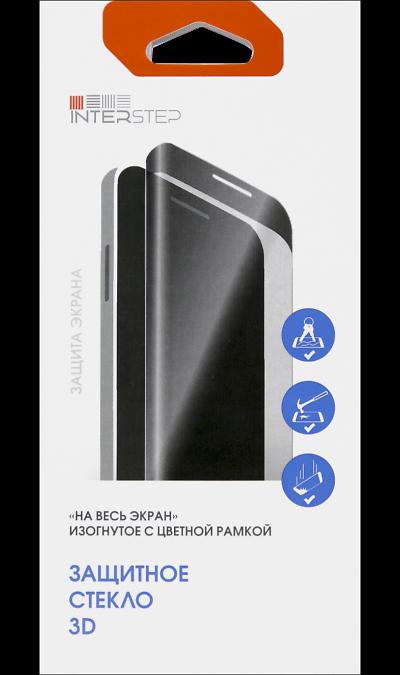Защитное стекло Inter-Step закругленное для iPhone 8 3D (черное)Защитные стекла и пленки<br>Качественное защитное стекло прекрасно защищает дисплей от царапин и других следов механического воздействия. Оно не содержит клеевого слоя и крепится на дисплей благодаря эффекту электростатического притяжения.<br>