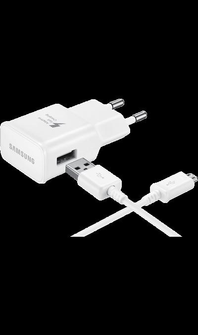 Зарядное устройство сетевое Samsung microUSB (белое)Зарядные устройства<br>Сетевое зарядное устройство 2A для зарядки совместимых мобильных устройств Samsung. В режиме быстрой зарядки аккумулятор устройства можно зарядить до 50% от полной ёмкости всего за полчаса (время может меняться в зависимости от условий зарядки и заряжаемого устройства). Кабель USB-microUSB для зарядки и передачи данных в комплекте<br><br>Colour: Белый