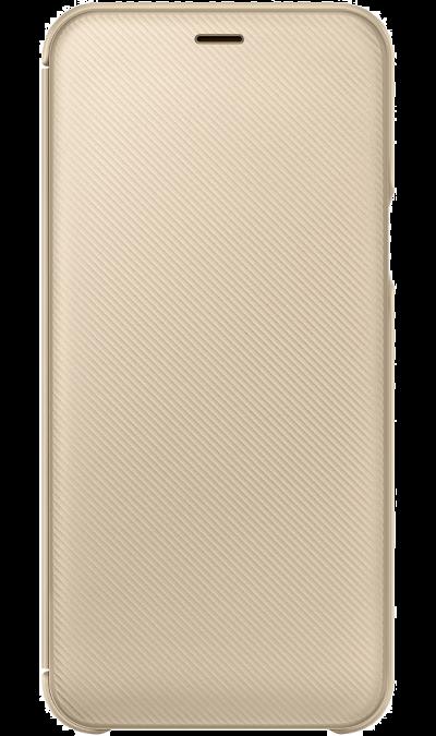 Чехол-книжка Samsung для Galaxy A6, полиуретан, золотистый