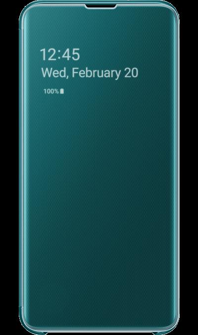Чехол-книжка Samsung EF-ZG970CGEGRU Clear View для Galaxy S10e, поликарбонат, зеленый  - купить со скидкой