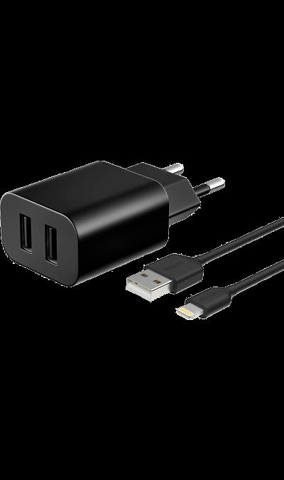 Зарядное устройство сетевое Deppa ULTRA Duo с разъемом Lightning 3.4A (черное) фото