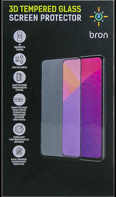 Защитное стекло Bron для Honor 8A/8A Prime 3D Full Glue (черная рамка)