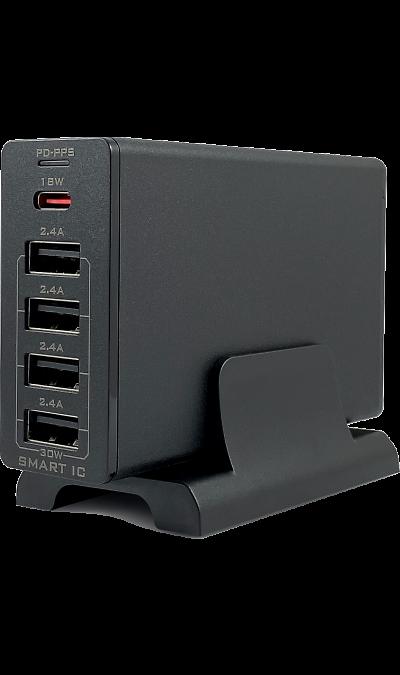 Зарядное устройство сетевое Bron BRN-AC-PD18/5USB30 (черное) фото