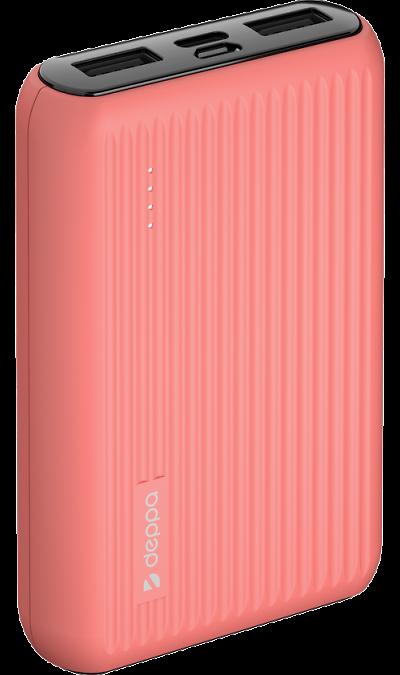 Аккумулятор Deppa NRG Color, 10000mAh коралловый