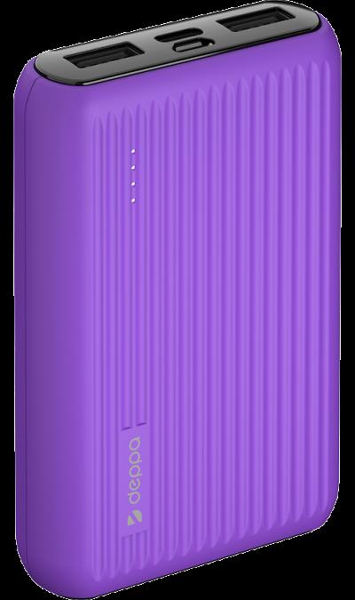 Аккумулятор Deppa NRG Color, 10000mAh фиолетовый