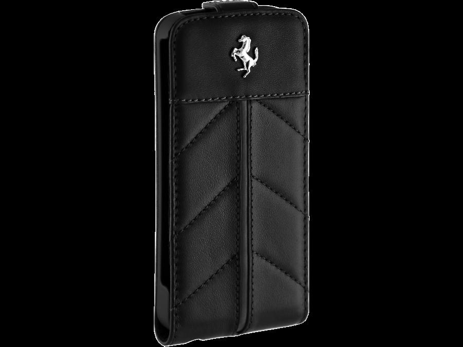 Чехол-книжка Ferrari FECFFL5B для Apple iPhone 5, кожа / пластик, черный