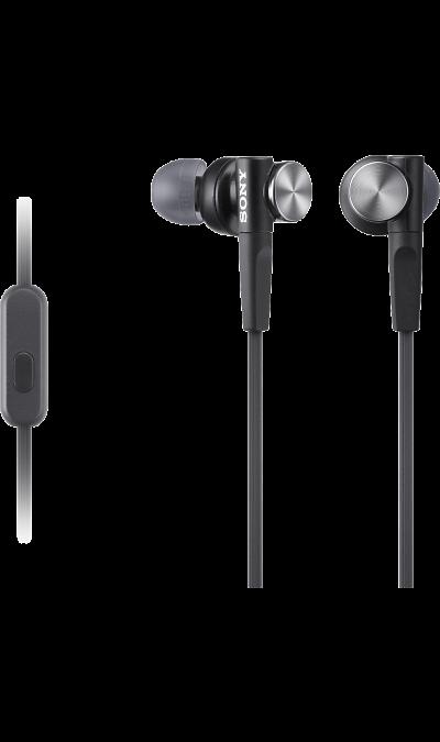 Проводная гарнитура Sony MDRXB50APB, стерео (черная)Наушники и гарнитуры<br>Изогнутые вкладыши наушников удобны по размеру, надежно держатся в ухе и обеспечивают глубокие басы.<br><br>Colour: Черный