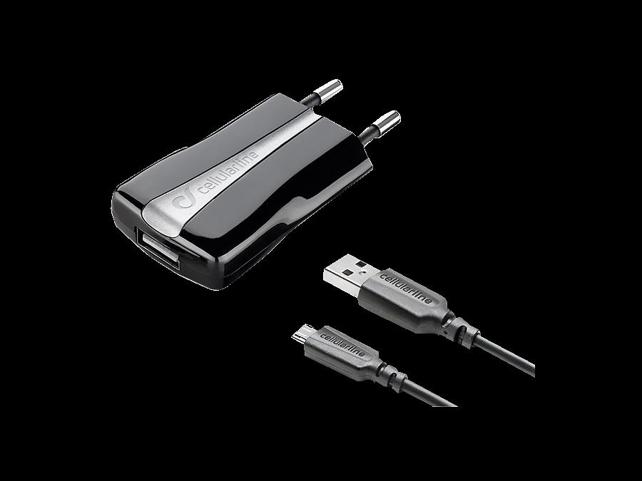 Зарядное устройство сетевое Cellular Line COMPACT USB CHARGER KIT (USB+ кабель microUSB)