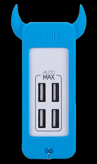 Зарядное устройство сетевое Momax U.Bull 4 USB 5А (голубой)Зарядные устройства<br>Креативное зарядное устройство серии U.Bull от компании Momax имеет четыре USB 5В выхода суммарной мощностью 5А. В комплекте идет европейская вилка (под российскую розетку). Корпус, выполненный из сочетания силикона и пластика достаточно прочен, чтобы угодить активному пользователю и имеет интересный дизайн и разнообразную цветовую гамму, чтобы понравиться истинному ценителю моды.<br><br>Colour: Голубой