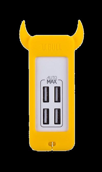 Зарядное устройство сетевое Momax U.Bull 4 USB 5А (желтый)Зарядные устройства<br>Креативное зарядное устройство серии U.Bull от компании Momax имеет четыре USB 5В выхода суммарной мощностью 5А. В комплекте идет европейская вилка (под российскую розетку). Корпус, выполненный из сочетания силикона и пластика достаточно прочен, чтобы угодить активному пользователю и имеет интересный дизайн и разнообразную цветовую гамму, чтобы понравиться истинному ценителю моды.<br><br>Colour: Желтый