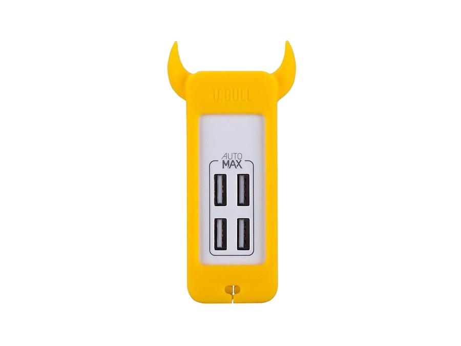 Зарядное устройство сетевое Momax U.Bull 4 USB 5А (желтый)