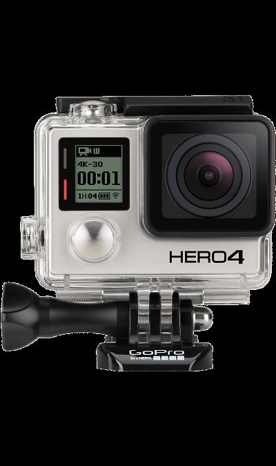 GoPro HERO4 BlackФото и видео<br>Самая продвинутая камера в мире.  В два раза более мощный процессор, в два раза быстрее частота видеокадров, качество изображения на высшем уровне. Новая специальная кнопка, позволяет вам быстро получить доступ к параметрам и настройкам. Управление камерой проще, чем когда-либо.  Трехмерный угол обзора позволяет запечатлеть в кадре каждую деталь вашего приключения. Откройте захватывающий мир экшн-съемок по-новому!<br>Невероятное качество изображения. Это первая камера среди своих ...<br><br>Colour: Серебристый