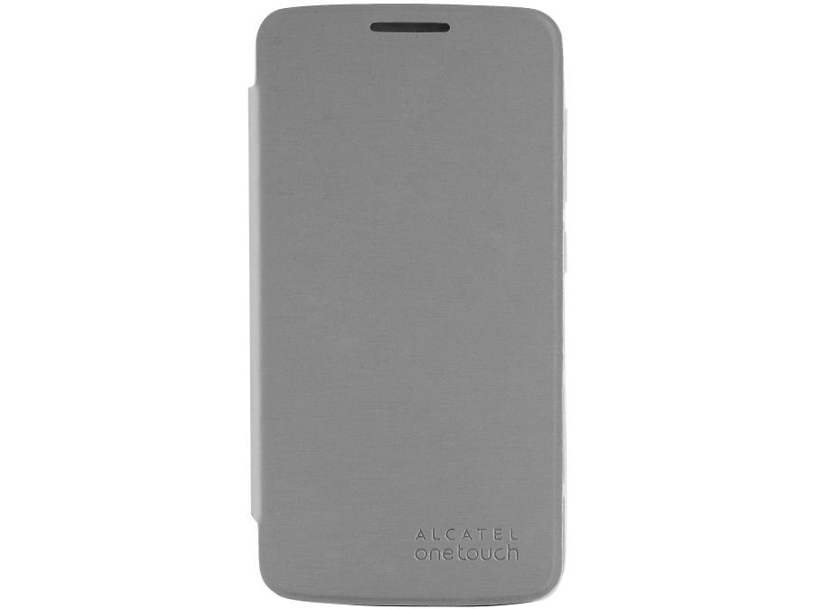 Чехол-книжка Alcatel для One Touch 7043, кожзам / пластик, серебристый