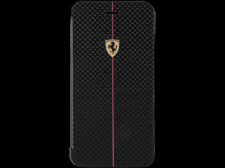 Чехол-книжка Ferrari FEFOCFLBKP6LBL для Apple iPhone 6 Plus, карбон, черный