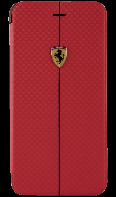 Чехол-книжка Ferrari FEFOCFLBKP6LRE для Apple iPhone 6 Plus, карбон, красныйЧехлы и сумочки<br>Чехол Ferrari  поможет не только защитить ваш iPhone 6 Plus от повреждений, но и сделает обращение с ним более удобным, а сам аппарат будет выглядеть еще более элегантным.<br><br>Colour: Красный