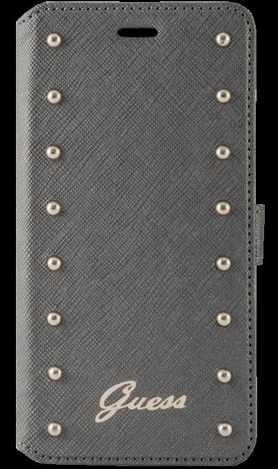 Guess Чехол-книжка Guess для Apple iPhone 6 Plus, кожзам / пластик, серебристый аксессуар чехол elari для elari cardphone и iphone 6 plus blue