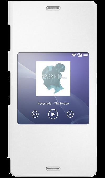 Чехол-книжка Sony SCR24 для Xperia Z3, полиуретан, белыйЧехлы и сумочки<br>Стиль и простота.<br>Стильный чехол Style Cover Window SCR24 - это инновационный чехол для Xperia Z3. Даже когда он закрыт, вы можете пользоваться любимыми функциями с помощью умного окна. Стильный чехол Style Cover Window SCR24 выполнен из высококачественных материалов и доступен в четырех цветах.<br>Функция умного окна.<br>Когда вы закрываете чехол, некоторые виджеты со строки состояния или начального экрана вашего Xperia Z3 остаются видны и доступны для использования. ...<br><br>Colour: Белый