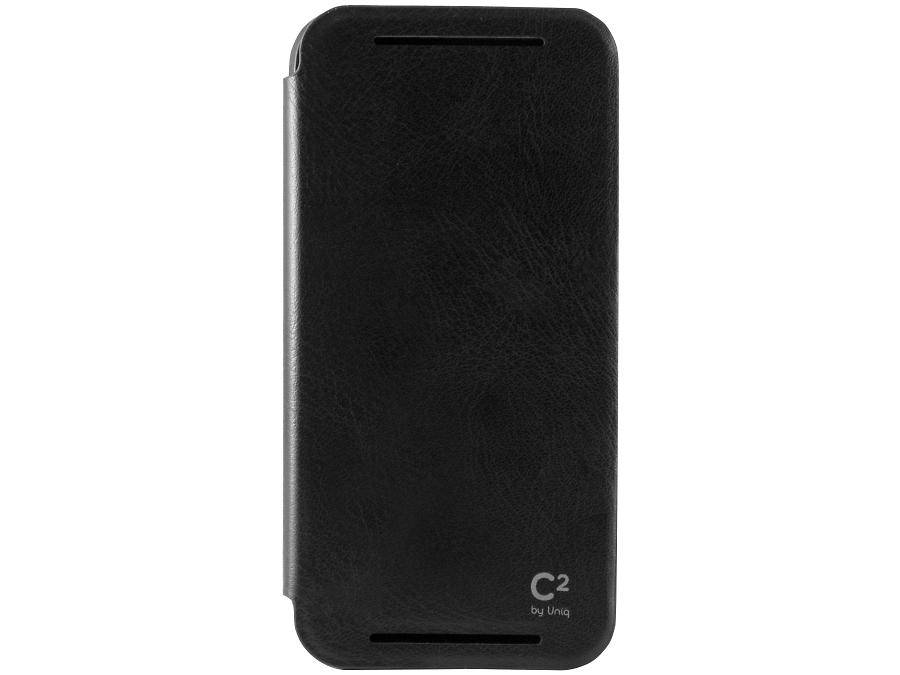 Чехол-книжка Uniq C2 для HTC One M9, кожзам / резина, черный