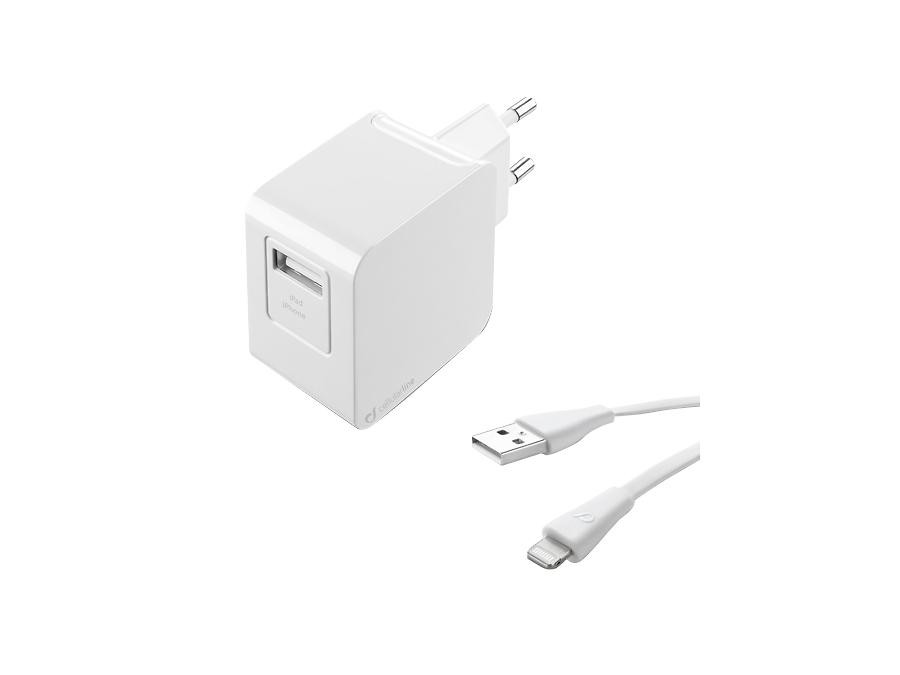 Зарядное устройство сетевое Cellular Line USB Charger Kit Ultra (с разъемом Lightning)