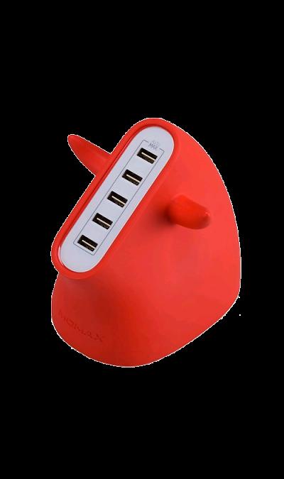 Зарядное устройство сетевое Momax U.BULL UM5SEUR RedЗарядные устройства<br>Зарядная станция MOMAX U.BULL 5 port USB c USB выходами.<br>Предназначено для зарядки портативных электронных устройств (смартфонов, планшетов и тп.)<br><br>Размер: 97 х 30 х 71 мм;<br>Вес: 178 гр;<br>Выходная мощность: 5В = 8А / 40Вт;<br>Входное напряжение: 100-240В;<br>Время зарядки: 3-4 часа для планшетов, 2-3 часа для смартфонов и плееров;<br>Разъемы: 5 USB;<br>Рабочая температура: 0 С до +40 С.<br><br>Colour: Красный