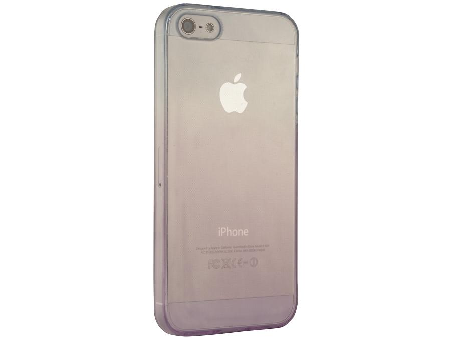Чехол-крышка Gresso для iPhone 5S фиолетово-голубой, силикон, прозрачный