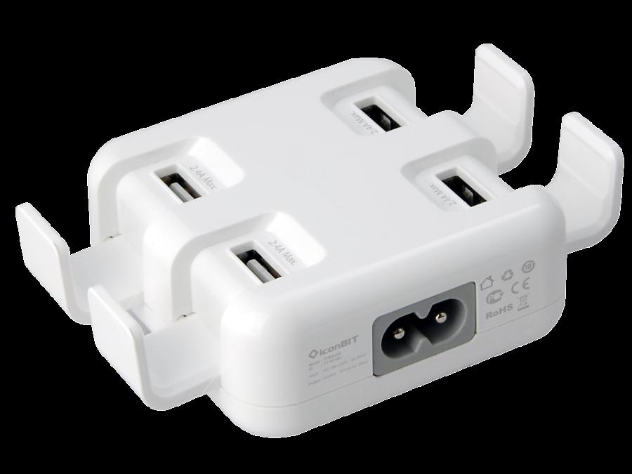 Зарядное устройство сетевое iconBIT FTB 4U5A белый