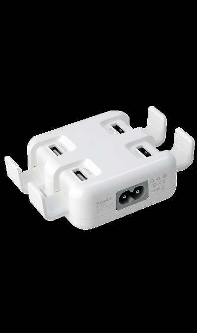 Зарядное устройство сетевое iconBIT FTB 4U5A белыйЗарядные устройства<br>Универсальное зарядное устройство с 4 USB портами. Технология Smart IC автоматически определяет тип устройства для ускорения его зарядки. Максимальный ток заряда 2.4А на порт или общий ток 5.4А. Каждый из USB портов имеет защиту от перегрузки по току, перенапряжения и короткого замыкания<br><br>Colour: Белый