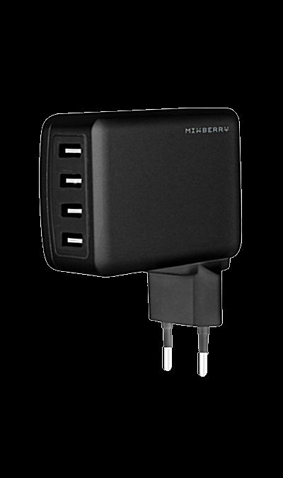 Зарядное устройство сетевое Mixberry MWC UL410-BK (черное)Зарядные устройства<br>Mixberry MWC UL410-BK сетевое зарядное устройство с международными адаптерами.<br><br>СЗУ с 4xUSB портами и технологией Smart IC;<br>2 порта по 2.4А и 2 порта по 1А;<br>Выходной ток 4.8A;<br>Адаптеры в комплекте: EU, UK, US.<br><br>Colour: Черный