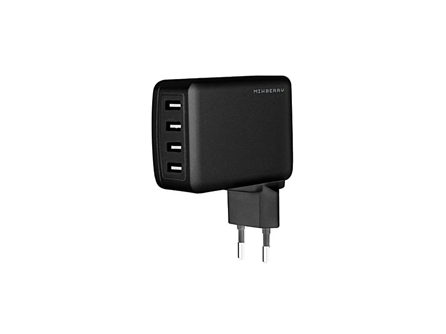 Зарядное устройство сетевое Mixberry MWC UL410-BK (черное)